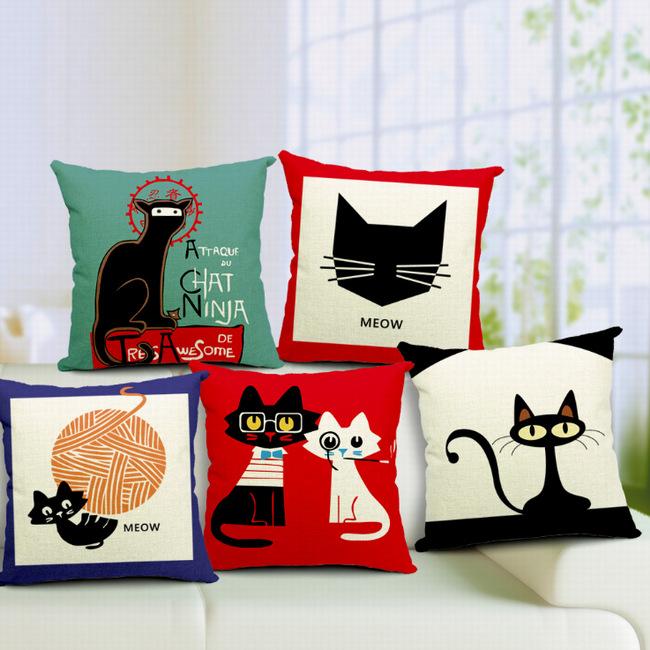Animais bonitos gatos aves Cartton fronha sofá capa de almofada DIY decoração do Hotel decorativo quadrado grátis frete 45 * 45 cm(China (Mainland))