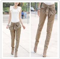 Hot Sale 2015 Sexy Women Fashion Skinny Long Trousers OL Casual Slim Bow Harem Pants Chic Suit Black Khaki Size S M L XL
