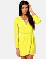 Hot, fashion V-neck long-sleeved waist chiffon dress
