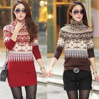 Female Long Sweater Dress With High Collar Long-Sleeved Geometric Print Large Rainbow Jumper Spring Slim Models