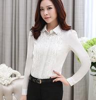 Fast/Free shipping 2015 Korean Spring Clothing Plus Size Casual Blusas Femininas Slim Lace Chiffon Blouse Women Blouses C1391