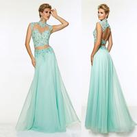 Two 2 Piece Long Prom Dresses Appliques Beading Robe De Soiree Vestidos Para Formatura 2015 vestidos de festa vestido longo
