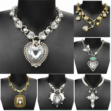 Vintage Necklce For Women Tibet Silver Heart Crystal Chain Chunky Necklace Pendant Valentine s Day Pearl