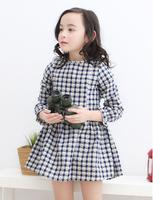 2015 New High Quality Cotton Plaid Dresses For Girls Kids Spring Japan Style Elegant Cute Dress  5 pcs/lot, Wholesale