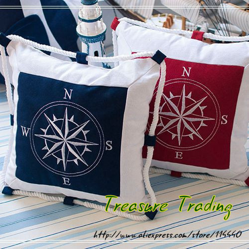 2015 Mediterranean Embroidery Navy Blue Sea Anchor Cushion Pillow Cover Canvas Compass Linen Pillow Cushion Cover Nautical IKEA(China (Mainland))