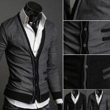 Nuovo arrivo mens casual elegante premio slim fit V- collo maglieria maglione cardigan pulsante freeshipping(China (Mainland))