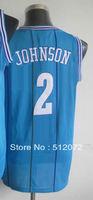 Charlotte #2 Larry Johnson Men's Authentic Hardwood Classics Throwback Road Blue Basketball Jersey