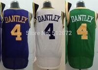 Utah #4 Adrian Dantley Men's Authentic Hardwood Classics Throwback Home White/Road Purple/Alternate Green Basketball Jersey