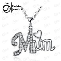 2015 Fashion MUM Heart Pendant Necklace With Rhinestone Women Girls Mother day Gift Jewelry 20Pcs/Lot