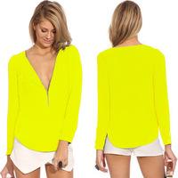 2015 high quality women blouses Fashion sexy chiffon V-neck long-sleeved  temperament ladies six colors S-XXL  chiffon shirts