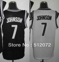 Brooklyn #7 Joe Johnson Men's Authentic Home White/Road Black Basketball Jersey