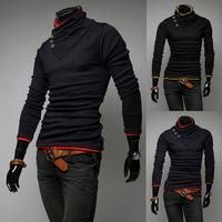 Free Shipping 2014 New Hot Sale Autumn Fashion pullover men sweatshirt Casual slim Unique collar long-sleeve men coat