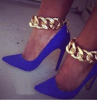 Suede leather metal Chains High Heel Pumps Blue Pointed toe Party shoes