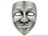 V for Vendetta Mask belt buckle , Pewter color