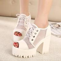 2015 new women sexy high-heeled sandals Simple wild fish head waterproof mesh  women shoes