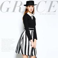 Mi15012228 fashion crystal diamond decoration color block stripe patchwork slim one-piece dress