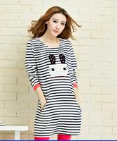Maternity Clothing  autumn fine stripe plus size clothing maternity dress clothing 100% cotton loose t-shirt free shipping