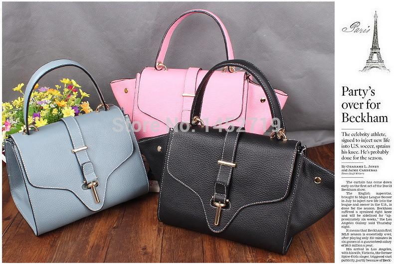 2015 new Sales Cowhide quality women genuine leather Litchi Smile Bat handbag shoulder Phantom Europe and America multi-purpose(China (Mainland))