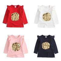 2015 Girl Dress princess Dresses gold big flower fly sleeve Shirts elastic cotton kid clothing children clothes wear
