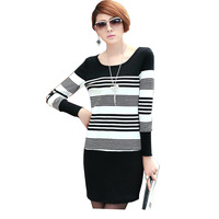 FS-3018 New Arrival 2015 Spring Summer Dress For Women Plus Size Striped Dresses 4XL 5XL