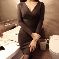 Hot new autumn and winter 2015 Korean deep V-neck dress was thin knit cross sexy female knit fashion dress