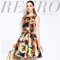 Mi15012221 fashion hundred flowers print high waist slim one-piece dress
