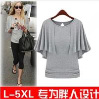 Fat Ladies Ruffles Sleeve Shirt Summer Short Sleeve Loose  Pullover O neck Blouse women Blusa Plus Size