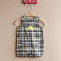 7pcs/lot baby boy woven plaid boxer Romper