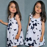 2014 New Summer Kids Toddler Girl Butterfly Pattern Dress Vest  One Piece