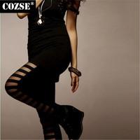New 2014  Winter  Simple Hole Slim Size Women Leggings European Style  Free Shipping L3123