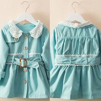 Autumn Infant Baby Girl Jacket Warm Outerwear Kids Winter Coat Girl Child Lace Long Sleeve Jacket Windbreaker+Belt