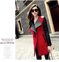 2014 New Fashion Autumn Winter Europe And America Women's Spliced PU Coat Trench Coat Slim Zipper Long Sleeve King-size Coat
