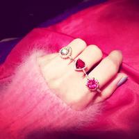 Exclusive Jewelry Collection Valentine Korean custom pink created diamond ring