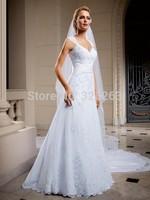 New Elegant Applique Cap Sleeve White Lace Wedding Dresses A Line Long Train Keyhole Back Church Bridal NF237