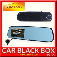 good price top quality 4.3 inch mirror dvr dual camera night vision black box blue glass