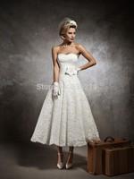 2015 Vestidos De Noiva Vintage Tea Length Sweetheart Lace Wedding Dresses Ball Gown Bride Dress Bridal Gowns