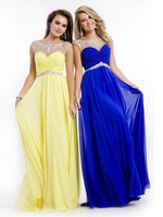 Elegant Beaded Chiffon Long Yellow Prom Dresses Sexy Open Back Evening Gowns Cap Sleeves Sheer Neck NF236