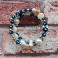 latest hotter bright blue&shell beads bracelet charm chunky bracelet can adjust lady/women party bracelet jewelry in stock !!