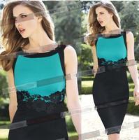Women Dress New 2015 Vestidos Femininos Party Dresses Lace Dress Patchwork Printing Tropical plus size dresses