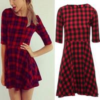 On Selling 2015 British Fashion Women Dress Half Sleeve Red Plaid Slim Bodycon O Neck Mini Dresses Casual Clothing Plus Size