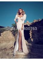Spring Fashion Sheath Sweetheart Chiffon Floor Length 3/4 Sleeves High Slit Wedding Dress