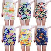 New Women Lady Floral Bodycon Pencil Stretch Short Mini Skirts Slim WaistFree Shipping
