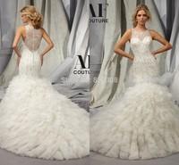 Vestido De Noiva Elegant Scoop Mermaid Sleeveless Beads Organza Chapel Train Plus Size Girl Wedding Dress 2015 Luxury Crystal