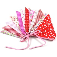 10Pieces/lot  Multicolor Handmade 2.4m 12flags Bunting Double side Fabric Flag Banner Garland Wedding Party Decoration