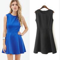 Women Candy Color Sleeveless Slim Pleated Summer Dress Lady Mini Dress Casual Wear Elegant Dress Free Shipping