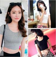 Fashio New Summer Casual Women Top Crop Brief Design Cut Off T Shirt White Black Grey Femininas Clothing Ropa Mujer T64