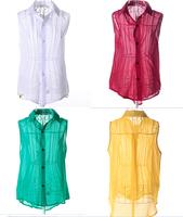 Leisure summer Women sleeveless chiffon blouse 2015 New solid color Shirt retail