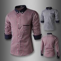 2015 New Style Spring/Autumn Men Casual Splicing shirt Korean Fashion Fine Grid Long Sleeve Slim dress Shirts men Free Shipping