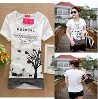 Wholesale~ 2015 New Arrival Women Casual Short Sleeve T-shirt O-Neck Slim Cartoon Tree Print T-shirt 1pc/lot