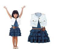 2015 NEW summer girls clothing sets girl navy denim dress + coat + belt summer children clothes for girls light blue